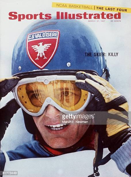 March 27 1967 Sports Illustrated via Getty Images Cover Alpine Skiing North American Ski Championships Closeup of France JeanClaude Killy at Canon...