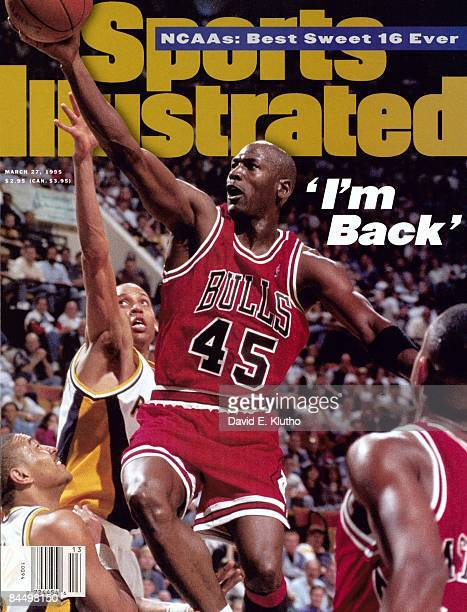 Basketball Chicago Bulls Michael Jordan in action layup vs Indiana Pacers Reggie Miller 1st game back after coming out of retirement Indianapolis IN...