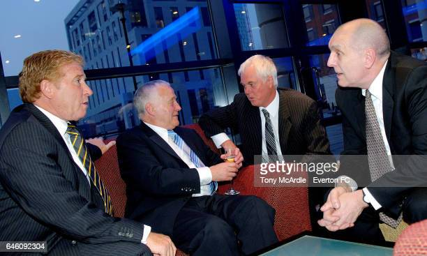 Everton legends Alan Ball Alex Young Duncan McKenzie and Everton archivist Dr David France attend an Everton Former Players Dinner in Liverpool...