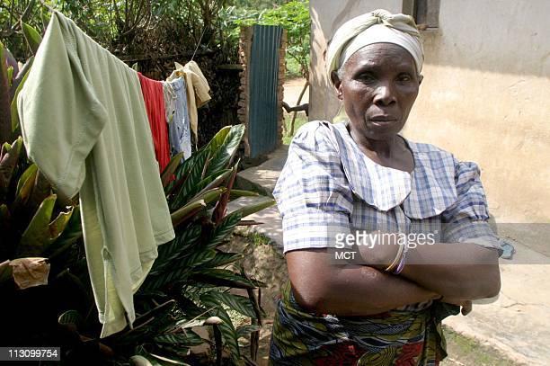 March 29 2004 Esther Mahundaza the sister of Felicien Kabuga in the village of Nyanga Rwanda where Kabuga was born Kabuga's privately owned Radio...