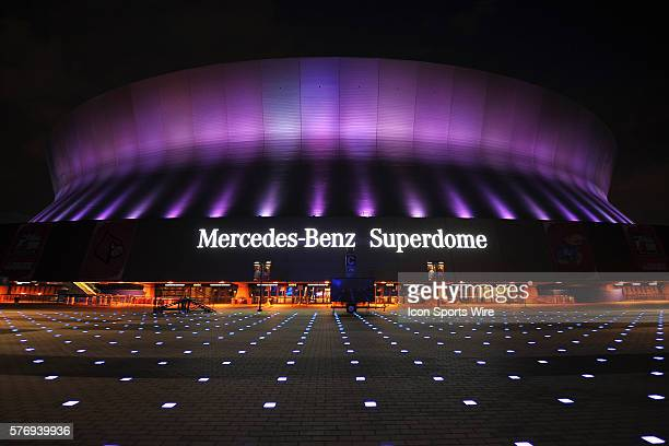 General view outside the Mercedes-Benz Superdome on priod to the NCAA Men's Division I Basketball Final Four in New Orleans, Louisiana.