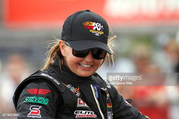 Erica EndersStevens Chevrolet Camaro NHRA Pro Stock reacts after winning the KN Horsepower Challenge during the 15th Annual SummitRacingcom NHRA...