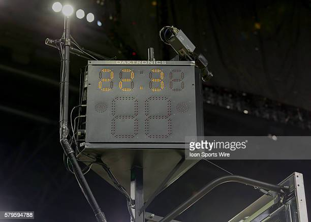 Shot clock and timer during the NCAA Div 1 Men's championship Elite Eight basketball game between Gonzaga Bulldogs and Duke Blue Devils at NRG...