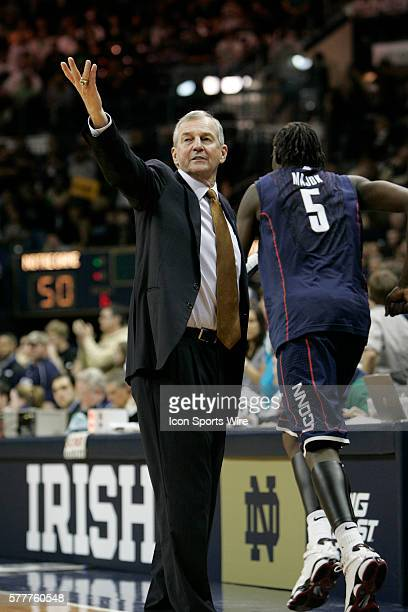 Head Coach Jim Calhoun of the UConn Huskies throws his hand in the air expressing his concern over the last call by the referee during the second...