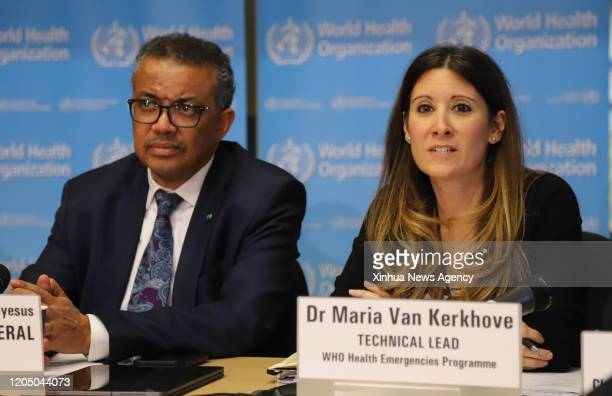 GENEVA March 3 2020 Maria van Kerkhove R technical lead for the Health Emergencies Program of the World Health Organization speaks at a daily...