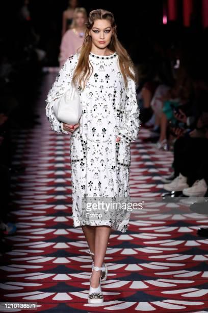 Model Gigi Hadid walks the runway during the Miu Miu as part of the Paris Fashion Week Womenswear Fall/Winter 2020/2021 on March 3 2020 in Paris...