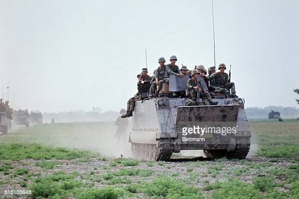 March 30, 1970- South Vietnam: ARVN Rangers 41st Battalion patrol the border along Cambodia in APC's to search for Viet Cong