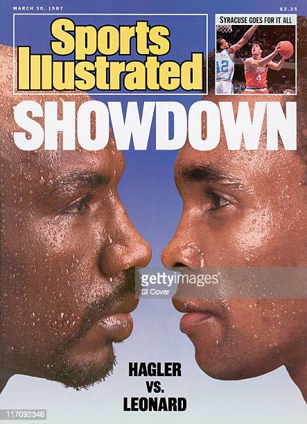 Boxing WBC Middleweight Title Preview Closeup portrait of Marvelous Marvin Hagler at Palm Springs CA between 3/5/19873/7/1987 Sugar Ray Leonard at...