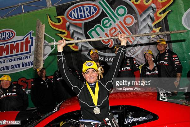 Erica EndersStevens Chevrolet Camaro NHRA Pro Stock celebrates her sweep of the KN Horsepower Challenge and the NHRA Pro Stock Class during the 15th...
