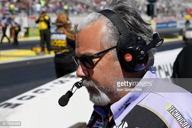 Tommy DeLago crew chief of Alexis DeJoria Toyota Camry NHRA Funny Car waits on the line during the 15th Annual SummitRacingcom NHRA Nationals at The...