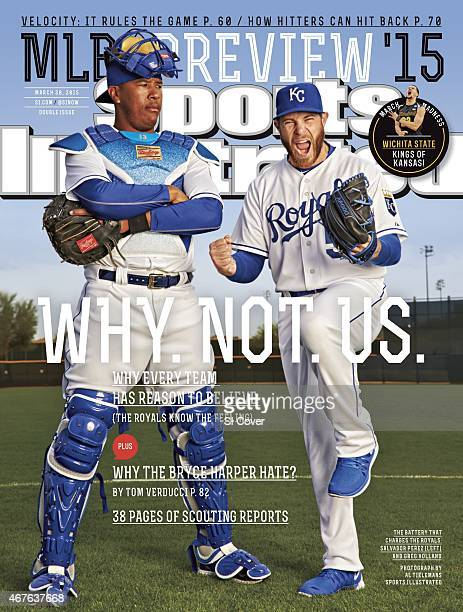 Baseball Season Preview Portrait of Kansas City Royals pitcher Greg Holland and catcher Salvador Perez during spring training photo shoot at Surprise...