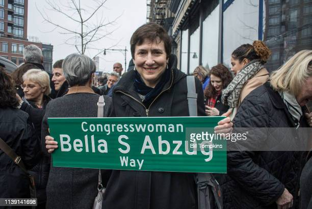 Lis Abzug speaks during the Bella Abzug street naming cermony at the corner of Bond Street and Greenwich avenue in New York City on March 30 2018 in...