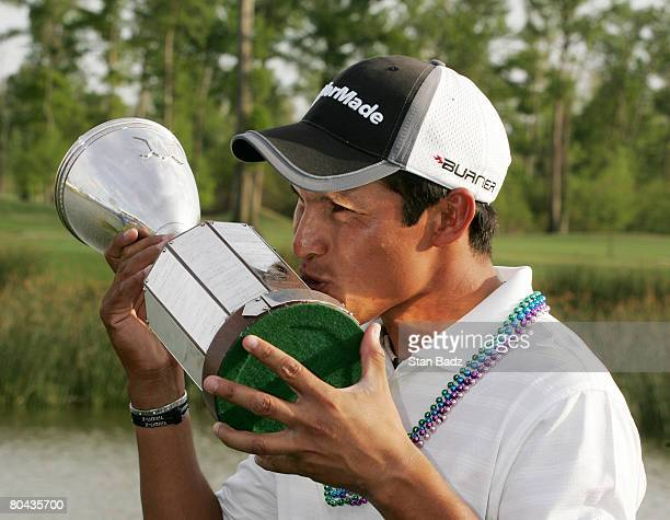March 30: Andres Romero kisses his trophy after the final round of the Zurich Classic of New Orleans at TPC Louisiana held on March 30, 2008 in...