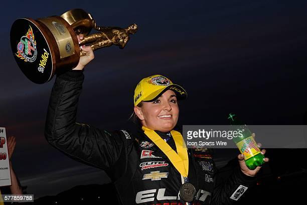 Erica EndersStevens Chevrolet Camaro NHRA Pro Stock celebrates winning the 15th Annual SummitRacingcom Nationals on The Strip at Las Vegas Motor...
