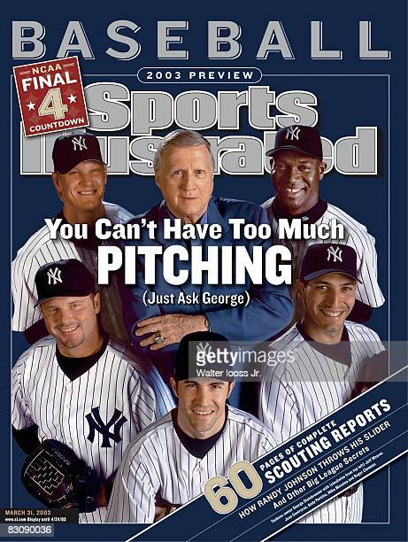 March 31 2003 Sports Illustrated via Getty Images Cover Baseball Portrait of New York Yankees owner George Steinbrenner and Jose Contreras Andy...
