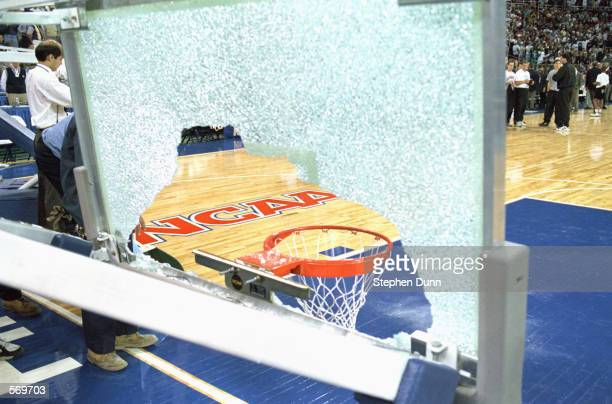 A view of a broken backboard with the NCAA logo seen through it taken during a practice session before the 1995 Final Four Series on March 31 1995