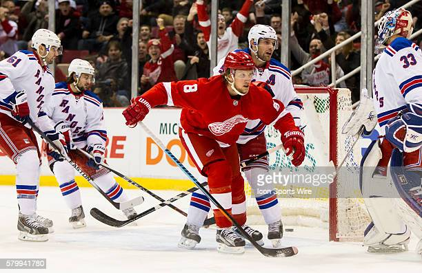 Detroit Red Wings forward Justin Abdelkader scores a goal during the first period during a regular season NHL hockey game between the New York...