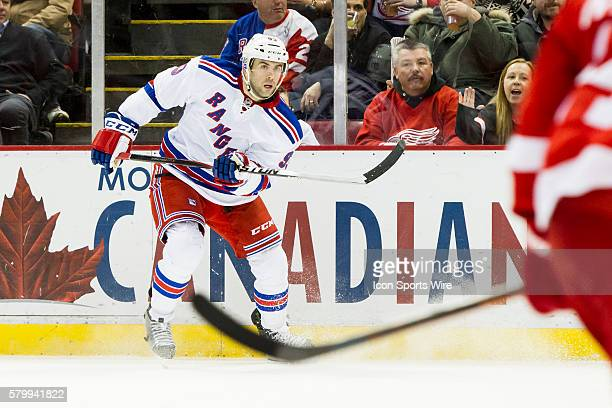 New York Rangers defenseman Keith Yandle skates during a regular season NHL hockey game between the New York Rangers and the Detroit Red Wings played...