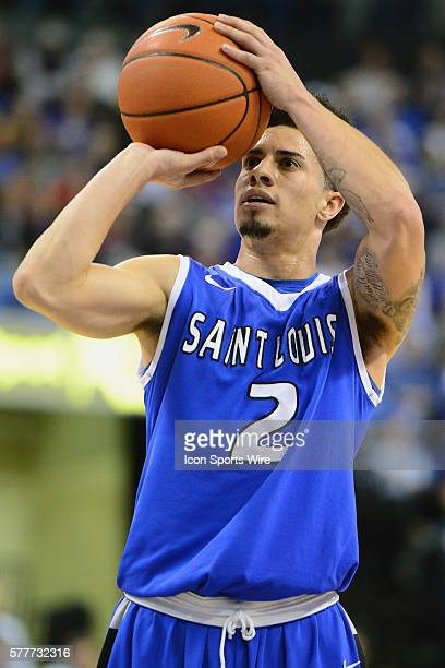Saint Louis University guard Austin McBroom puts up a free throw in the first half during an Atlantic 10 Conference basketball game between the...