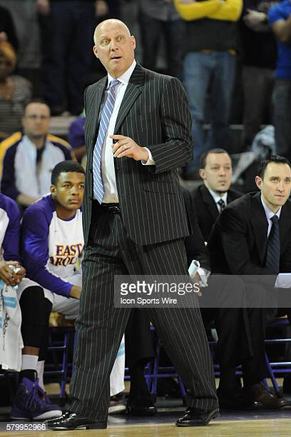 East Carolina Pirates head coach Jeff Lebo in the first half of a game between the Temple Owls and the East Carolina Pirates at Williams Arena Minges...