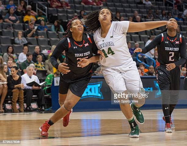 Baylor Kristina Higgins gets around Texas Tech Leashja Grant during the Big 12 Women's Championship at the Chesapeake Energy Arena in Oklahoma City OK