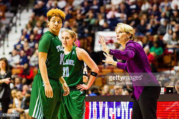 Tulane Head Coach Lisa Stockton with Leslie Vorpahl and Taylor Emery on the sidelines during the American Athletic Conference Women's Championship...