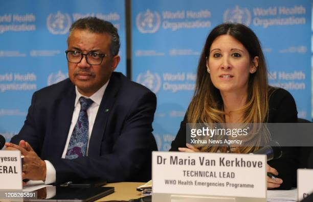 BEIJING March 5 2020 Maria van Kerkhove R technical lead for the Health Emergencies Program of the World Health Organization speaks at a daily...
