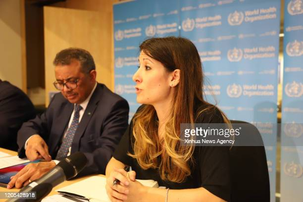 GENEVA March 5 2020 Technical lead for the WHO's Health Emergencies Program Maria van Kerkhove R speaks during a daily briefing in Geneva Switzerland...