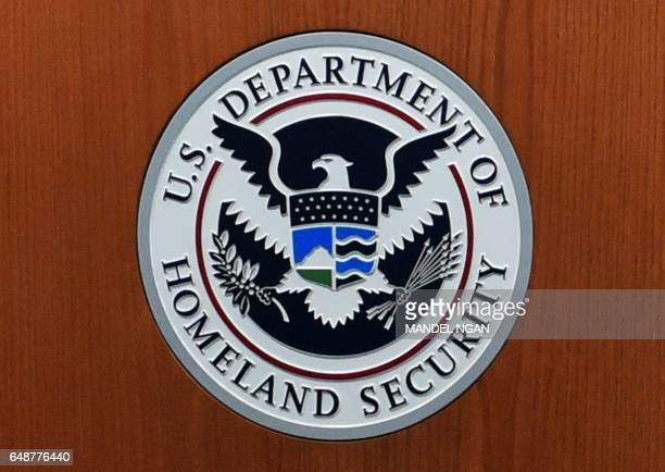 A March 6 2017 photo shows the seal of the US Department of Homeland Security in the US Customs and Border Protection Press Room at the Reagan...