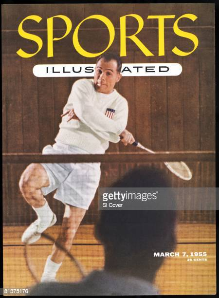 March 7 1955 Sports Illustrated Cover Badminton Joe Alston in action during practice at National Guard Armory Pasadena CA