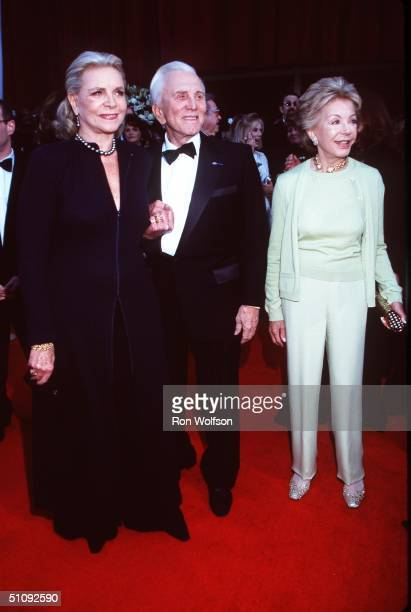 March 7 1999 Los Angeles Lauren Bacall With Kurt Douglas And His Wife Ann At The Screen Actors Guild Awards In Los Angeles