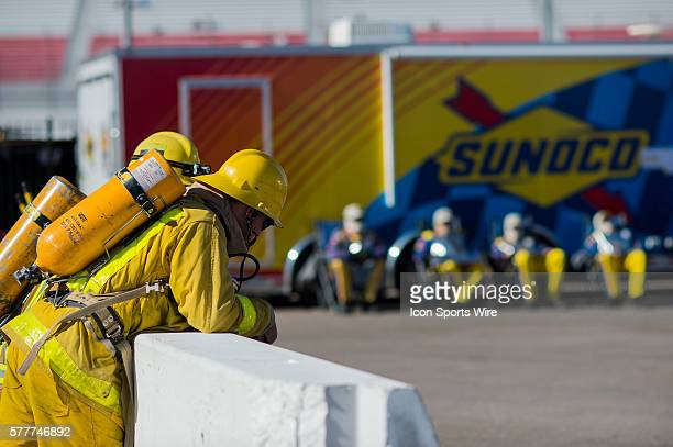 Fire fighters at the ready during the NASCAR Sprint Cup Series Stratosphere Pole Day
