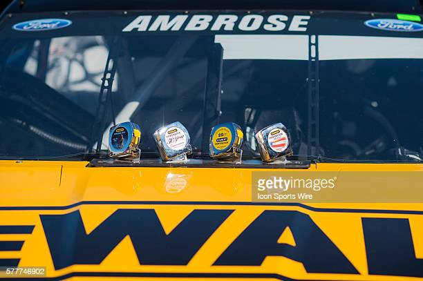 Stanley tape measures adorn the hood of Marcos Ambrose Richard Petty Motorsports Ford Fusion during the NASCAR Sprint Cup Series Stratosphere Pole Day