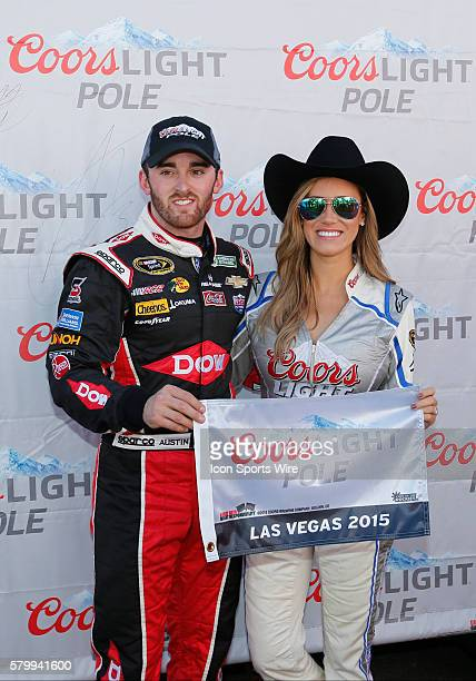 Austin Dillon with Miss Coors Light Amanda Mertz after Dillon wins the pole for the Boyd Gaming 300 NASCAR XFINITY Series race at Las Vegas Motor...