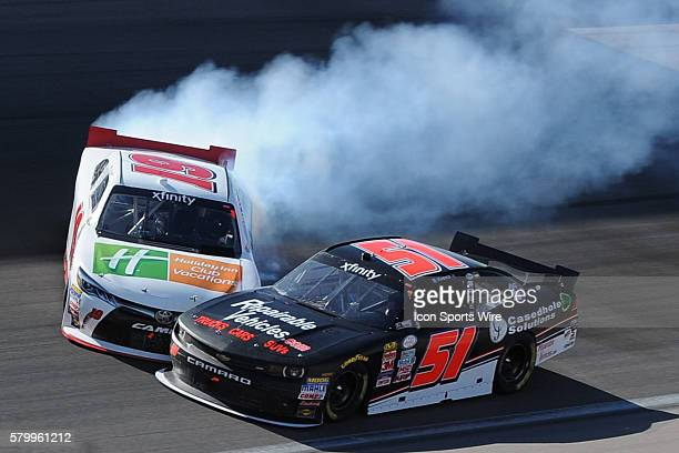 March 7 2015 Mike Bliss TriStar Motorsports Toyota Camry crashes into Jeremy Clements Jeremy Clements Racing Chevrolet Impala SS during the Boyd...