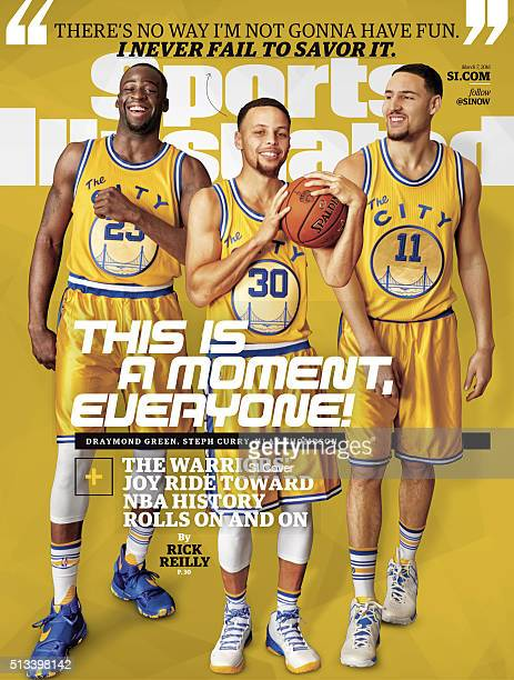 Basketball Portrait of Golden State Warriors forward Draymond Green point guard Stephen Curry and shooting guard Klay Thompson during photo shoot at...