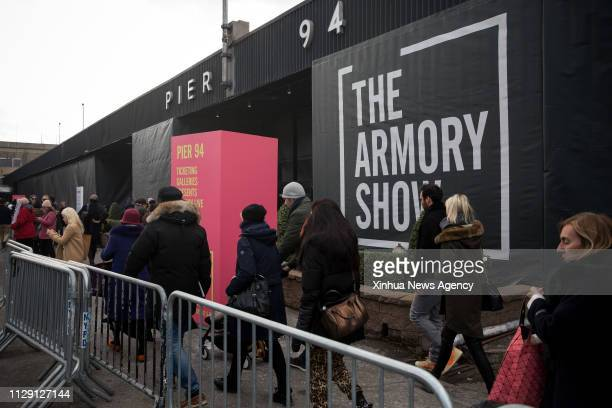 NEW YORK March 7 2019 People arrive at the VIP preview of the Armory Show in New York the United States March 6 2019 Nearly 200 galleries from 33...