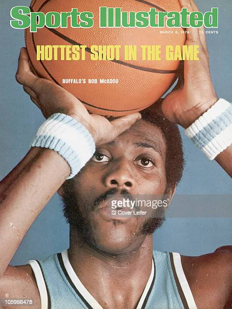 March 8 1976 Sports Illustrated via Getty Images Cover Basketball Closeup portrait of Buffalo Braves Bob McAdoo with ball during photo shoot at...