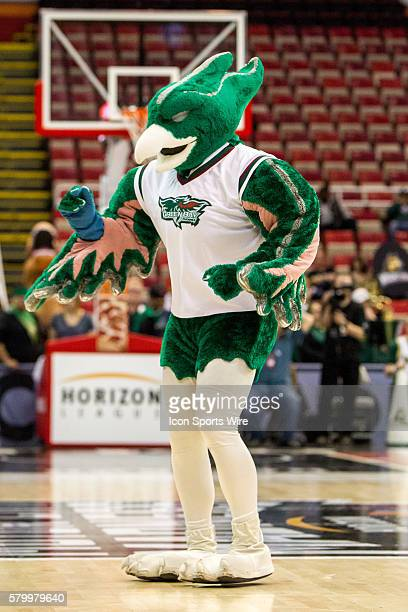 The Green Bay mascot performs during a timeout during the Horizon League men's basketball tournament championship game between the Green Bay Phoenix...