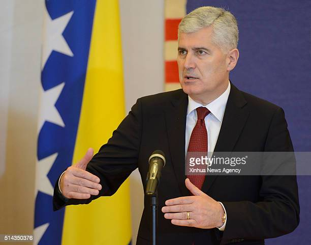 ZAGREB March 8 2016 Visiting Chairman of Presidency of Bosnia and Herzegovina Dragan Covic speaks at a joint press conference with Croatian President...
