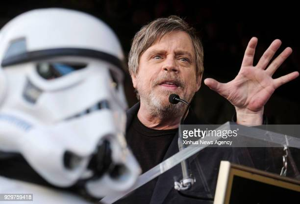 LOS ANGELES March 8 2018 Actor Mark Hamill attends a star honoring ceremony on the Hollywood Walk of Fame in Los Angeles the United States March 8...