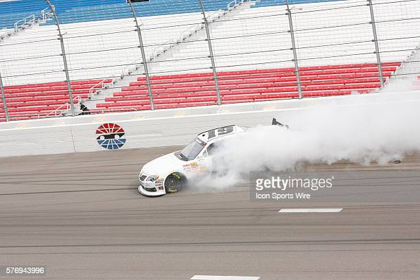 Mike Bliss Toyota Camry loses control in turn 4 during practice for the Sam's Town 300 NASCAR Nationwide Series race at the Las Vegas Motor Speedway...