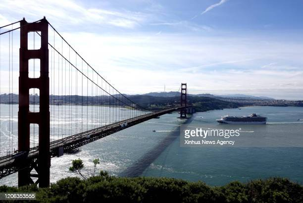 March 9, 2020 -- The Grand Princess cruise ship approaches the Golden Gate Bridge on the San Francisco Bay Area, the United States, on March 9, 2020....