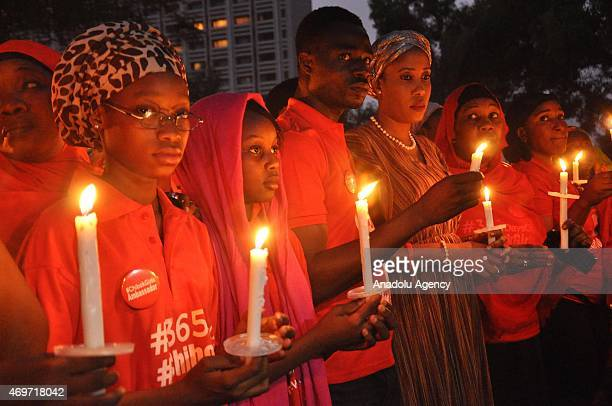 A march and vigil are held in the Nigerian capital of Abuja on Tuesday with 276 girls taking part to represent each of the missing on April 14 2015...