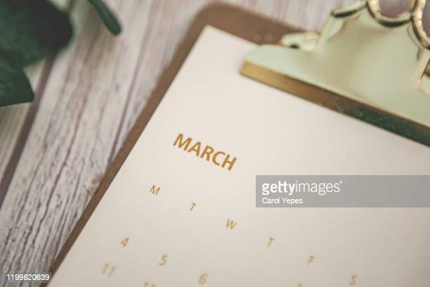 march calendar top view - march month stock pictures, royalty-free photos & images