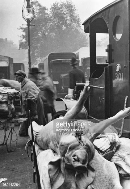 Marché de la viande dans le quartier de Smithfield carcasses de porcs empilées sur des charettes à Londres en Angleterre au RoyaumeUni en 1936