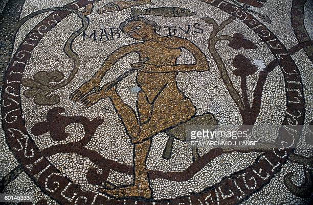 March detail from the Cycle of the Months mosaic floor of the Cathedral of Saint Mary of the Annunciation 11631165 by Monk Pantaleone Otranto Apulia...