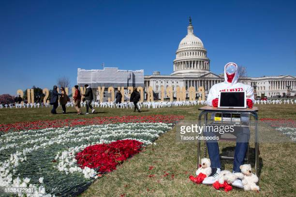 March For Our Lives students place gun violence prevention art on the US Capitol grounds on March 26 2019 in Washington DC March 24th marked the...