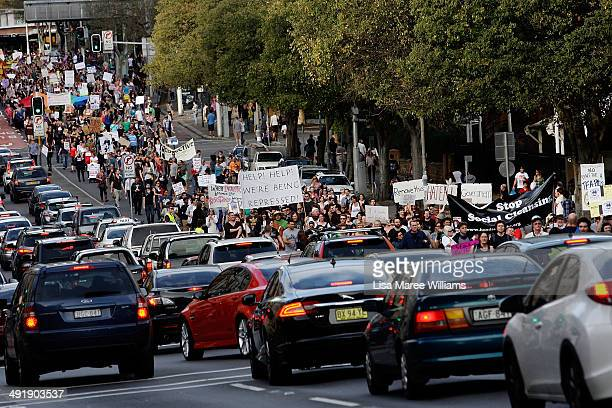 'March in May' protesters march through Broadway towards Victoria Park on May 18 2014 in Sydney Australia Hundreds of 'March in May' protesters...