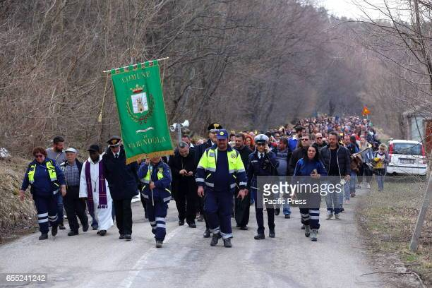 March in Rigopiano of Farindola to remember to two months after the tragedy the 29 victims of the avalanche that swept on the Jan 18 Rigopiano Hotel